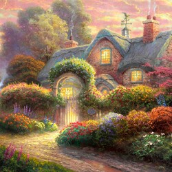 Jigsaw puzzle: Pink cottage