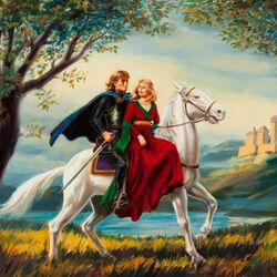 Jigsaw puzzle:  Lovers on a white horse
