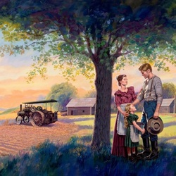 Jigsaw puzzle:  Family on the farm