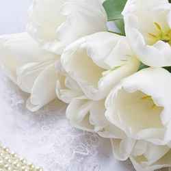 Jigsaw puzzle: Bouquet of white tulips