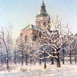 Jigsaw puzzle: St. Jacob's pickaxe in winter vestments Stockholm