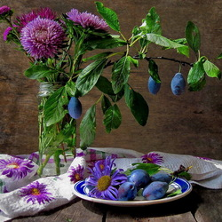 Jigsaw puzzle: Asters and plums
