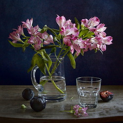Jigsaw puzzle: Alstroemeria and plums