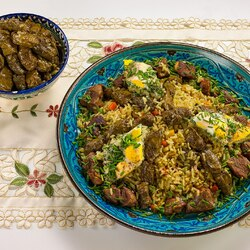 Jigsaw puzzle: Pilaf with dolma and eggs