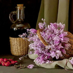 Jigsaw puzzle: Still life with wine, flowers and strawberries