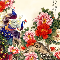 Jigsaw puzzle: Peacocks and peonies