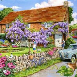 Jigsaw puzzle: House with wisteria