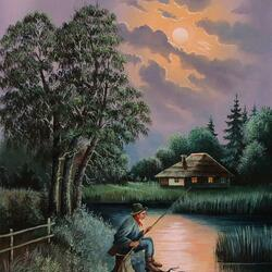 Jigsaw puzzle: Night fishing