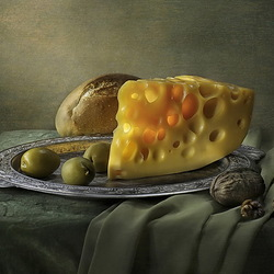 Jigsaw puzzle: Still life with olives and cheese