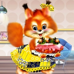 Jigsaw puzzle: Squirrel with a cake