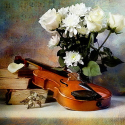 Jigsaw puzzle: Flowers and violin