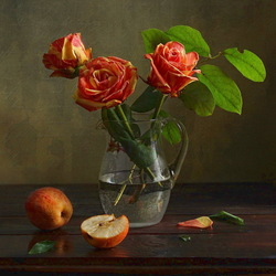 Jigsaw puzzle: Roses and apples