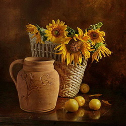 Jigsaw puzzle: Still life with sunflowers and plums