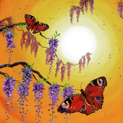 Jigsaw puzzle: Butterflies at sunset