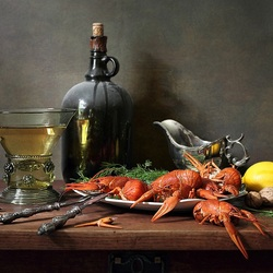 Jigsaw puzzle: Crayfish and wine