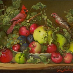 Jigsaw puzzle: Birds and Apples