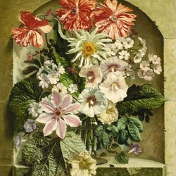 Jigsaw puzzle: Bouquet in a niche