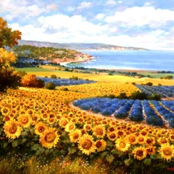 Jigsaw puzzle: Sunflowers and lavender