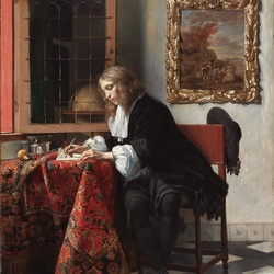 Jigsaw puzzle: Young man writing a letter