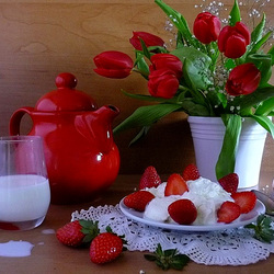 Jigsaw puzzle: Strawberries and milk