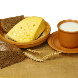 Jigsaw puzzle: Bread with cheese and milk