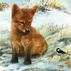 Jigsaw puzzle: Fox and tit