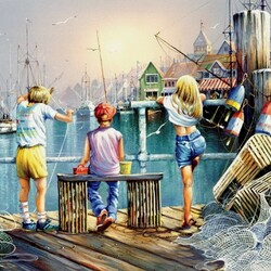 Jigsaw puzzle: Fishing at the pier