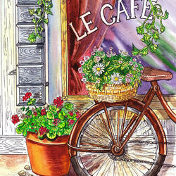 Jigsaw puzzle: At the entrance to the cafe