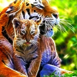 Jigsaw puzzle: Tiger cub with mom