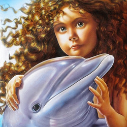 Jigsaw puzzle: Girl and dolphin