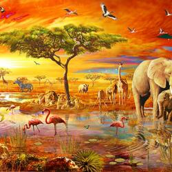 Jigsaw puzzle: Sunset in the savannah