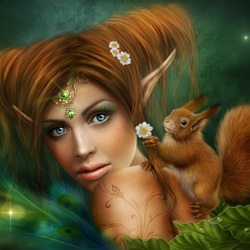 Jigsaw puzzle: Elf and squirrel
