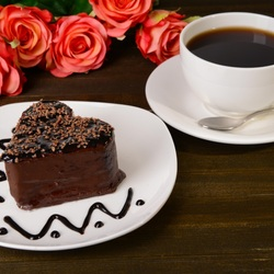 Jigsaw puzzle: Cake, coffee and roses