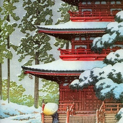Jigsaw puzzle: Pagoda in winter