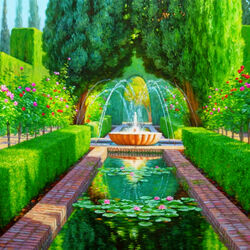 Jigsaw puzzle: Fountain Generalife in Granada