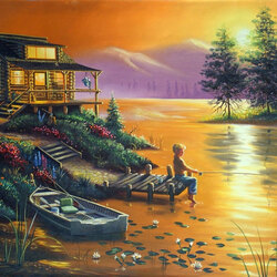 Jigsaw puzzle: Sunset fishing