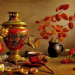 Jigsaw puzzle: Still life with samovar and autumn leaves