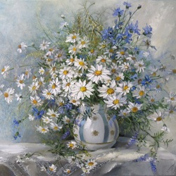 Jigsaw puzzle: Chamomile and cornflowers