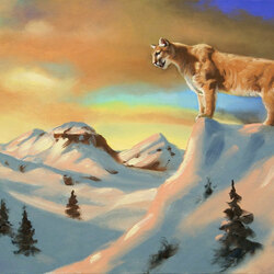 Jigsaw puzzle: Snow cougar