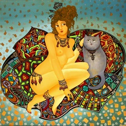Jigsaw puzzle: Woman with cat