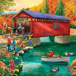 Jigsaw puzzle: Fishing at the bridge
