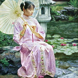 Jigsaw puzzle: Girl in pink with an umbrella