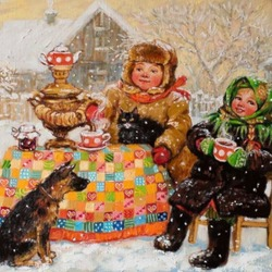 Jigsaw puzzle: Tea drinking in Russian