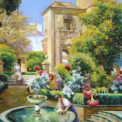 Jigsaw puzzle: By the fountain