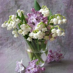 Jigsaw puzzle: Lilies of the valley and lilacs