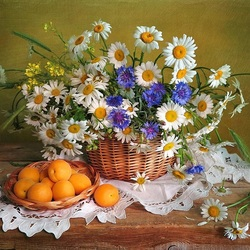 Jigsaw puzzle: Bouquet and apricots