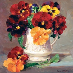 Jigsaw puzzle: Pansies in a jug