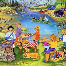 Jigsaw puzzle: Picnic on the lake