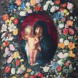 Jigsaw puzzle: Madonna and child in a flower frame