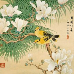 Jigsaw puzzle: Guohua. Flowers and birds.